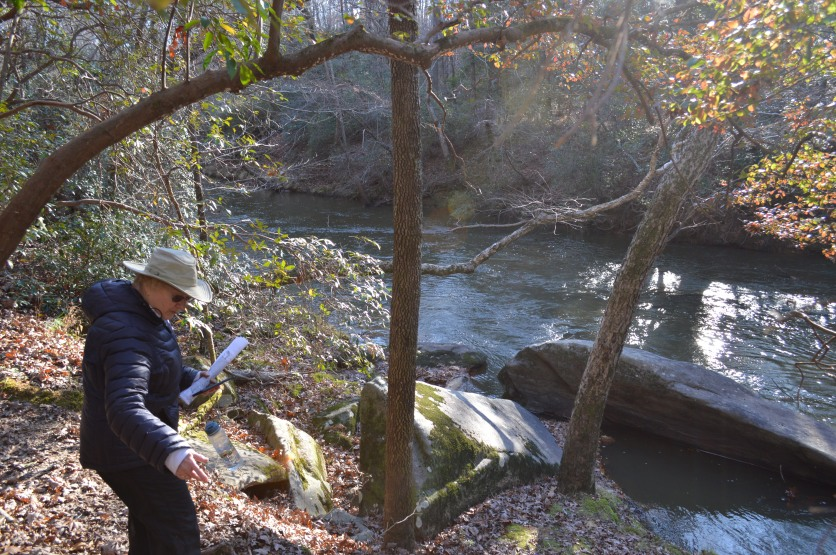 Spooner and I pause for a moment by the creek.