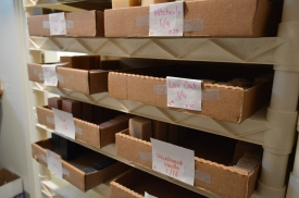 "Boxes of soaps in the ""curing room"" at DuBois' workshop."