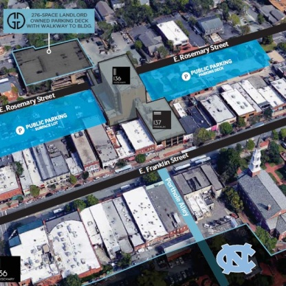 "Aerial illustration of the redevelopment site. The Wallace parking deck, planned for a ""wet labs space"" is to the right of the CVS building. Source: Grubb Properties"