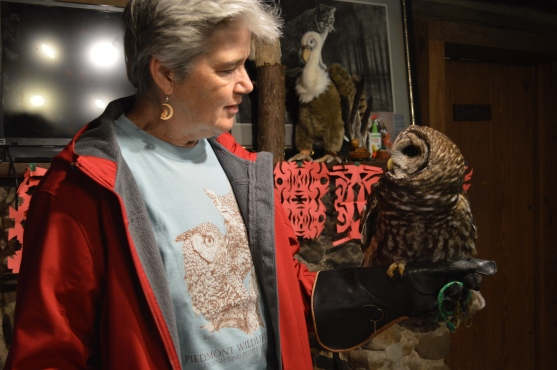 "Gail Abrams, the former long-time executive director of Piedmont, with ""Athena,"" one of the Barred Owls at the center, who is bonded to Abrams."