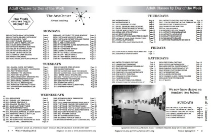 List of classes on the winter 2011-spring 2012 catalog. Source: The ArtsCenter