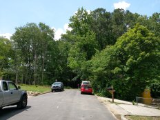 The dead end on Prince Street leading up to the woods at 303 Jones Ferry Road, where The ArtsCenter wants to build a 20,000-square-foot new facility.
