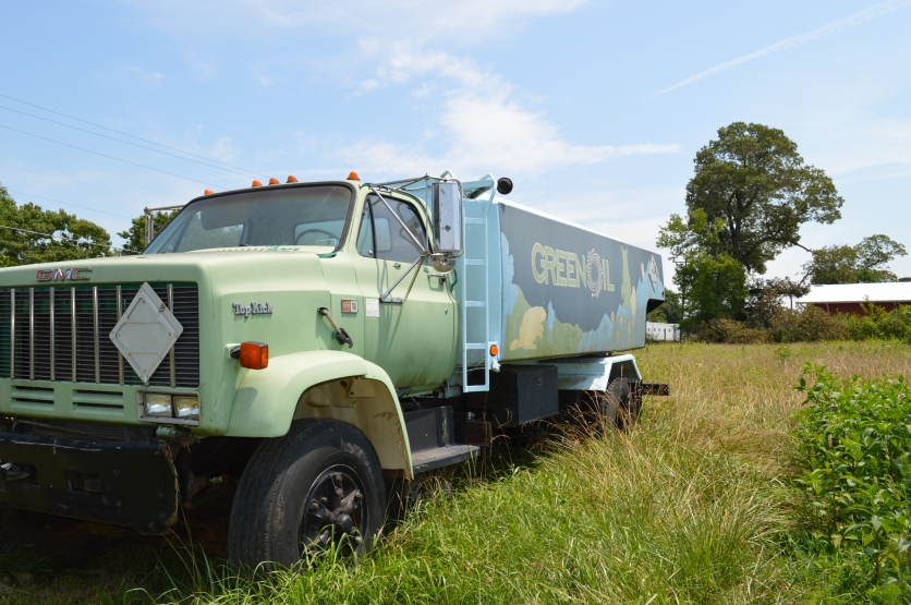 "A ""Green Oil"" biodiesel truck. Dreyfors' The Forest Foundation has a ""GOAL"" philosophy, combining renewable resources with community work."
